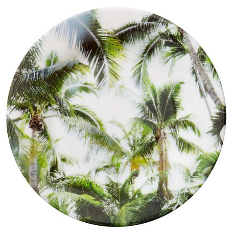 S/4 Palm Trees Melamine Salad Plates, Green/Multi - Outdoor Accents ...