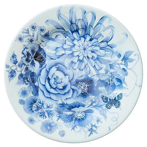 S/4 Floral Melamine Salad Plates, Blue/White