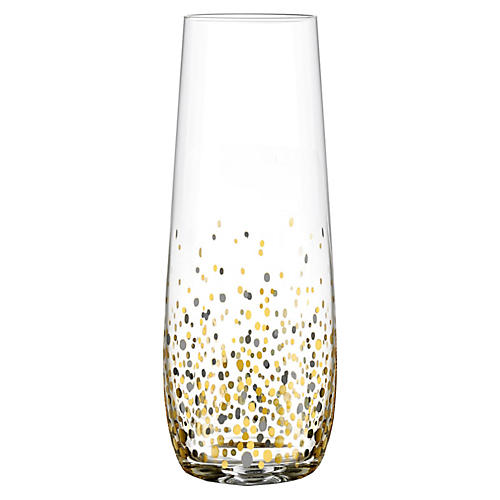 S/4 Vecchio Stemless Champagne Flutes, Black/Gold