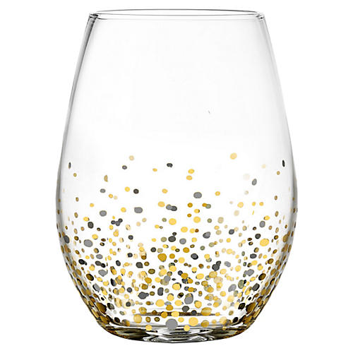 S/4 Vecchio Stemless Wineglasses, Black/Gold
