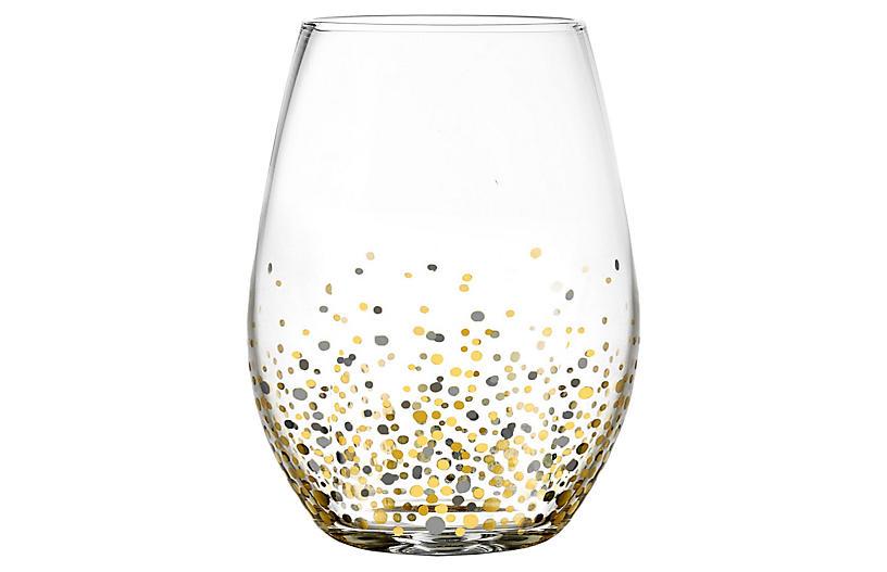 S/4 Vecchio Stemless Wineglasses, Black/Gold