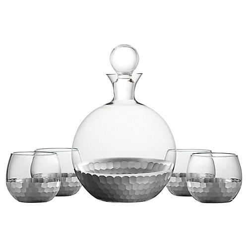 Asst. of 5 Daphne Decanter Set, Platinum