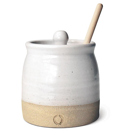 Beehive Honey Pot Set, Natural/White