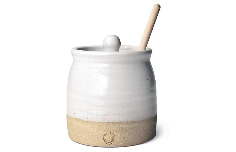 Beehive Honey Pot Set, Natural/White