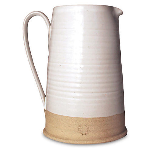 Countryman Pitcher, White/Natural