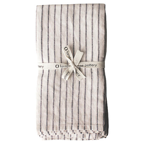 S/4 Washed Dinner Napkins, Natural/Black