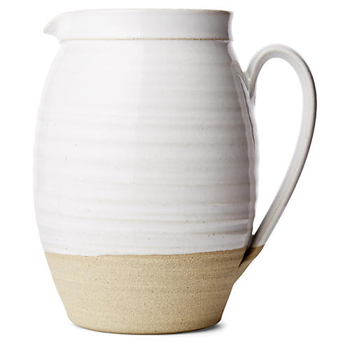 Barrel Pitcher, Natural/White