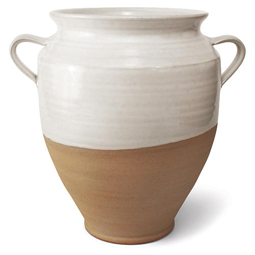 "9"" Confit Medium Jar, White/Natural"