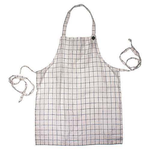 Washed Kids' Apron, Blue/White