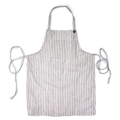 Washed Kids' Apron, White/Light Blue