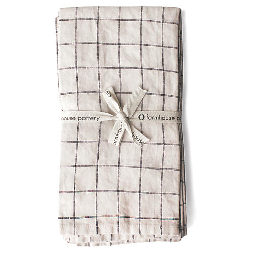 S/4 Washed Dinner Napkins, Black/Natural