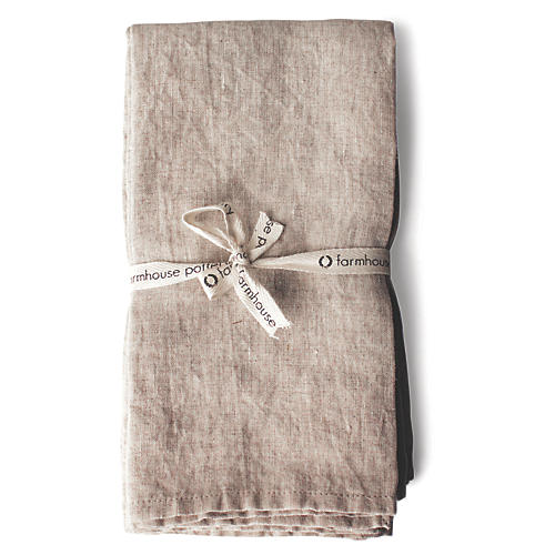 S/4 Washed Dinner Napkins, Tan