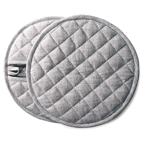 S/2 Stone Pot Holders, Light Gray