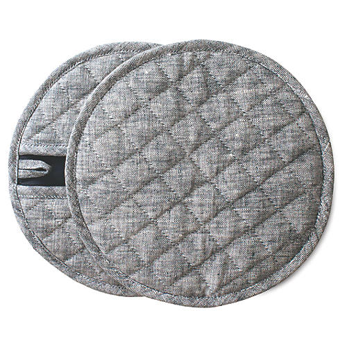S/2 Indigo Pot Holders, Dark Gray