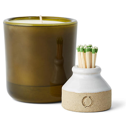 S/2 Candle & Match Striker Gift Set, Green
