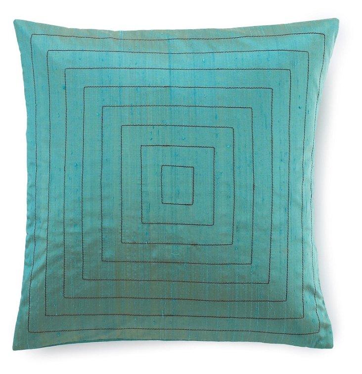 Pyramid 20x20 Pillow, Aqua