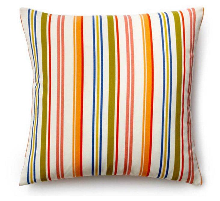 Stripes 20x20 Outdoor Pillow, White