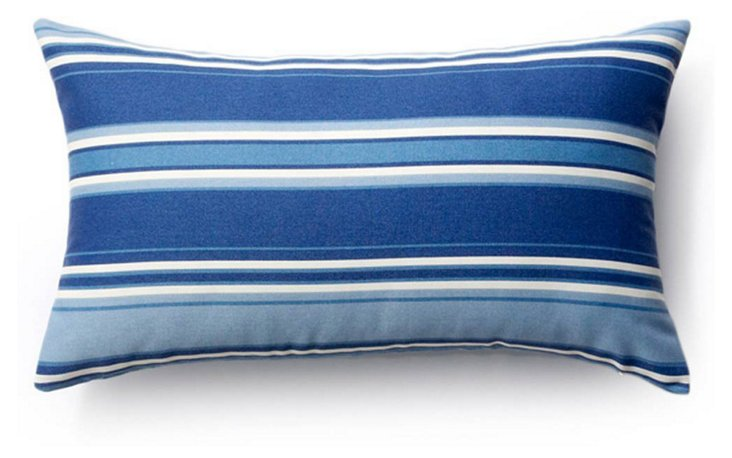 Stripes 12x20 Outdoor Pillow, Sky/Multi