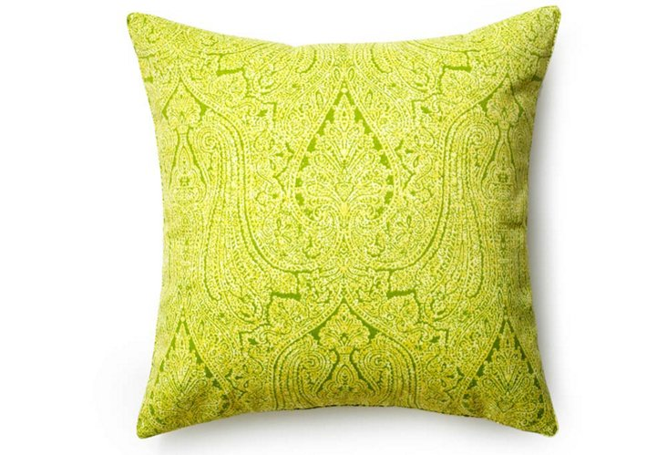 Paisley 26x26 Outdoor Pillow, Lime