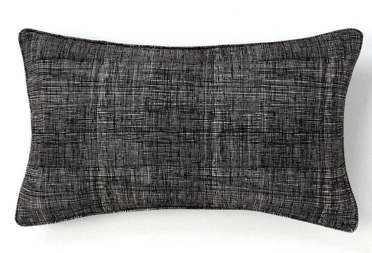 12x20 Gauze Pillow, Black/Beige