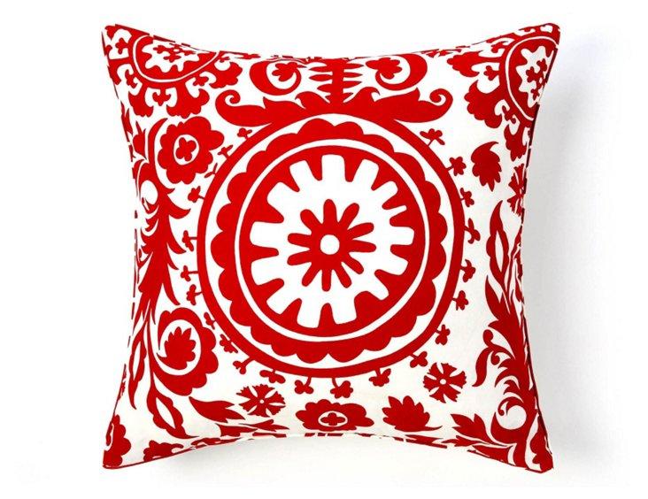 Suzani 24x24 Cotton Pillow, Red