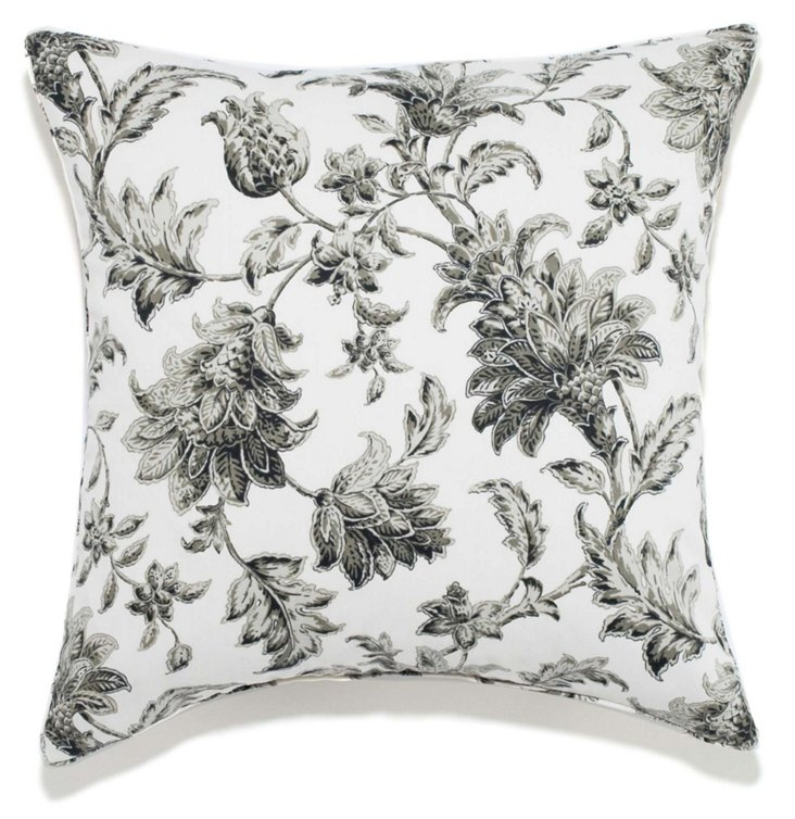 Floral 20x20 Pillow, Charcoal