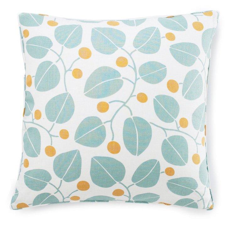 Bethe Leaves 20x20 Cotton Pillow, Aqua