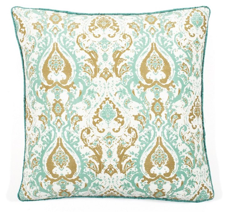 Turkey Crown 20x20 Pillow, Aqua