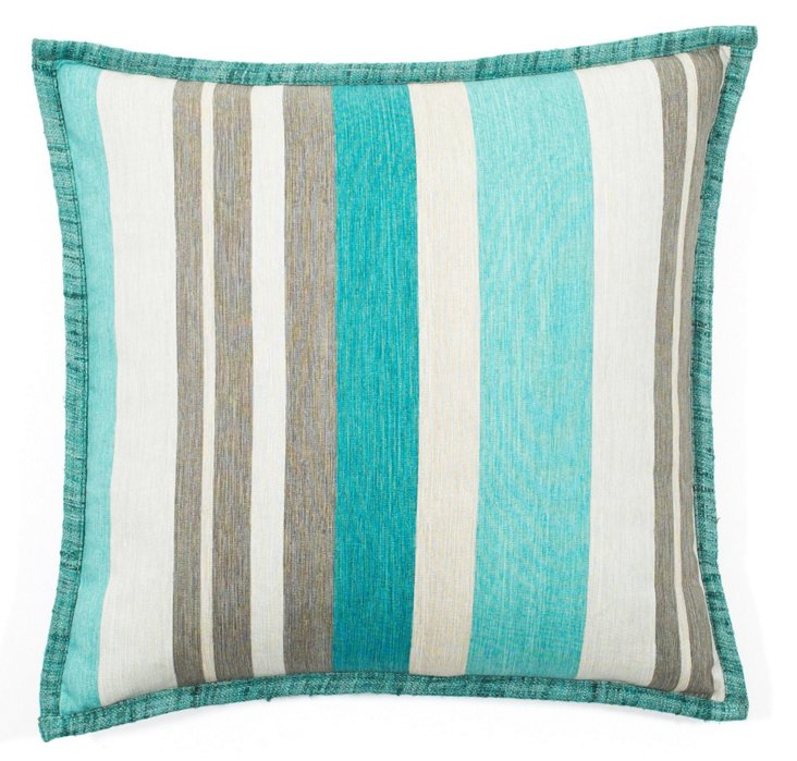 Stripes 20x20 Cotton Pillow, Turquoise