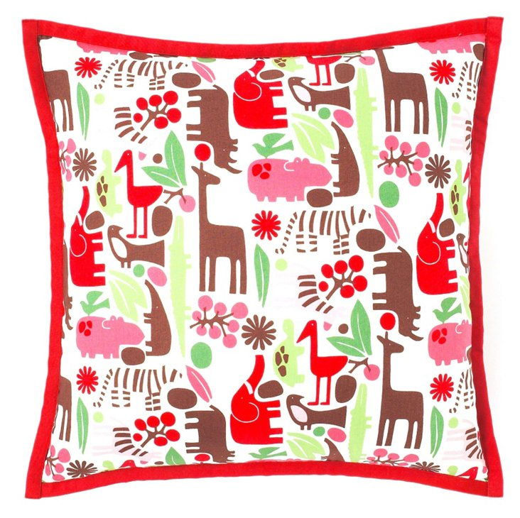Hippo 18x18 Pillow, Red