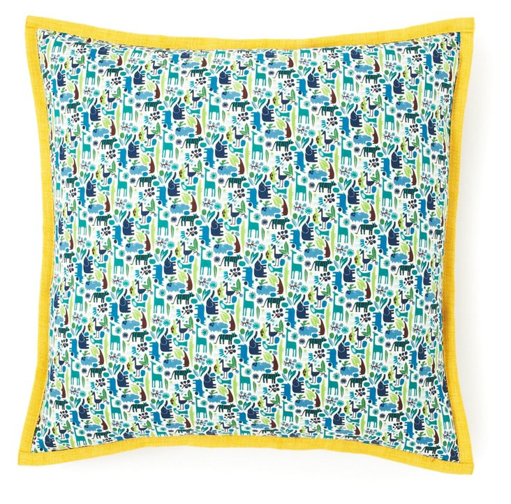 Animals 18x18 Cotton Pillow, Blue