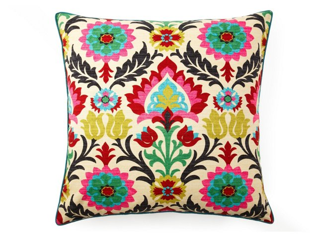 Santana 26x26 Cotton Pillow, Multi