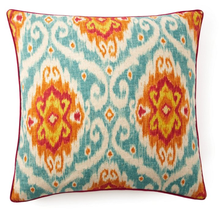 Kyllini 26x26 Cotton Pillow, Blue