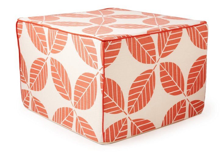 Tiki Leaves Pouf, Coral/White