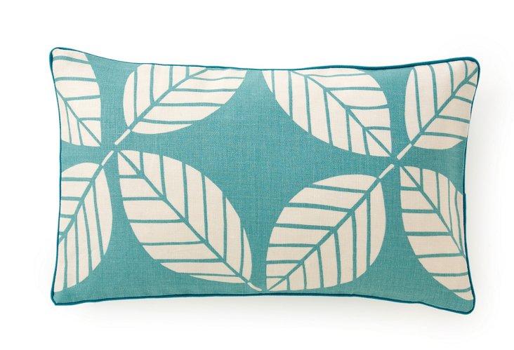 Tiki Leaves 12x20 Pillow, Teal