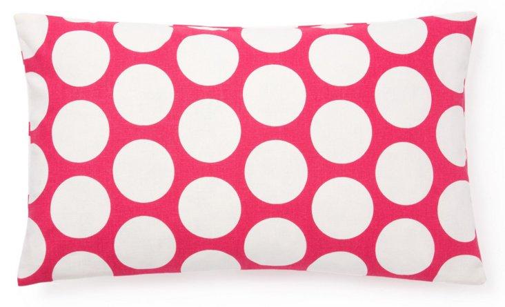 Polka Dot 12x20 Cotton Pillow, Pink
