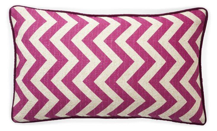 Zig-Zag 12x20 Cotton Pillow, Purple