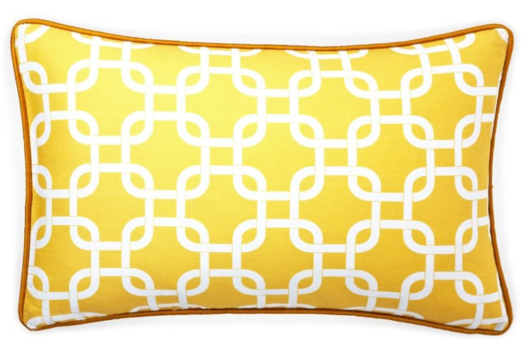 Links 12x20 Cotton Pillow, Yellow
