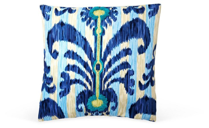 Java 20x20 Cotton Pillow, Blue