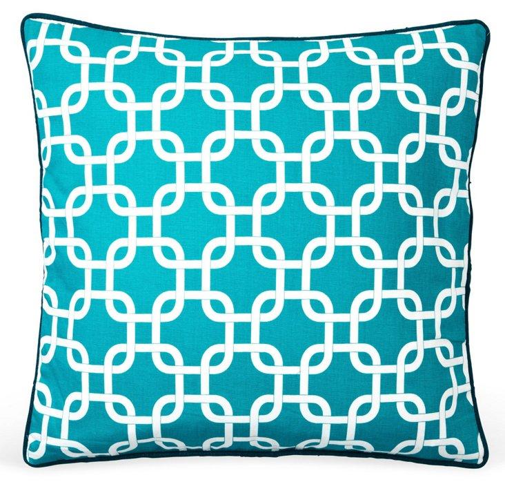 Links 20x20 Cotton Pillow, Teal