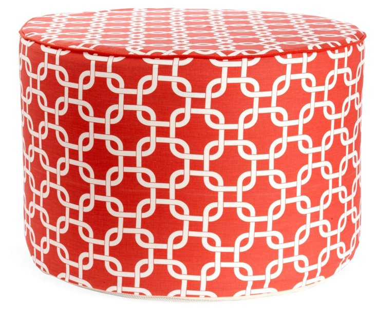 Links Round Pouf, Coral/White
