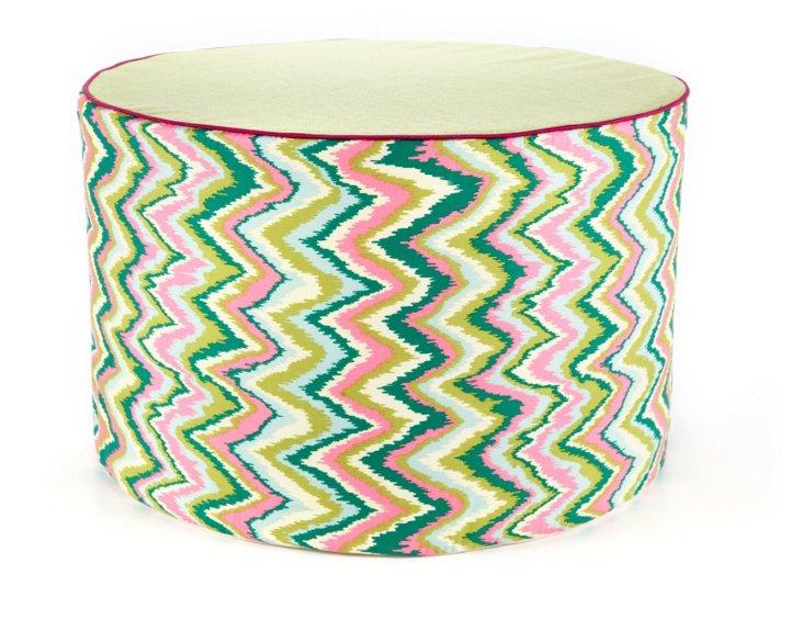 Ikat Round Pouf, Pink/Green
