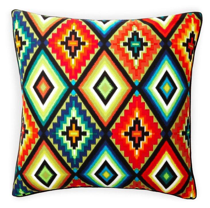 Aztec 20x20 Cotton Pillow, Green/Multi
