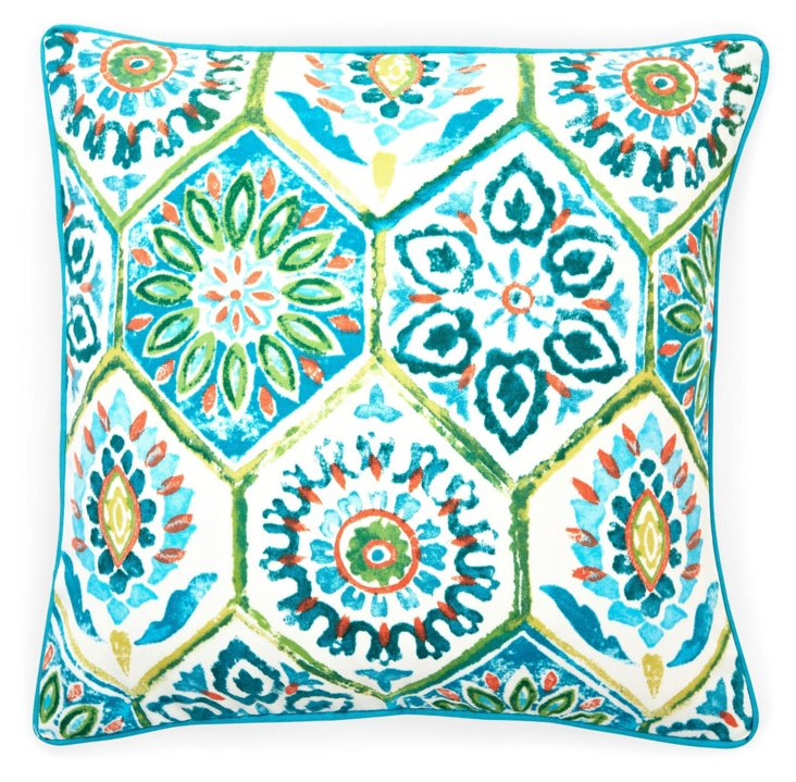 Palermo 20x20 Outdoor Pillow, Turquoise