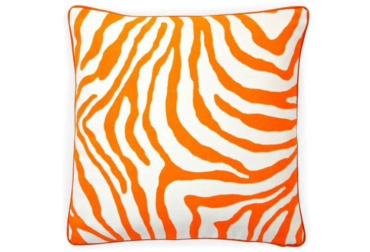 Zebra 20x20 Outdoor Pillow, Orange
