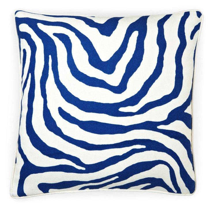 Zebra 20x20 Outdoor Pillow, Blue
