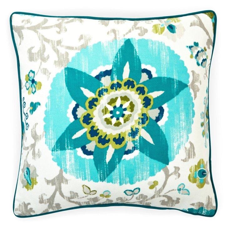 Petals 20x20 Outdoor Pillow, Aqua