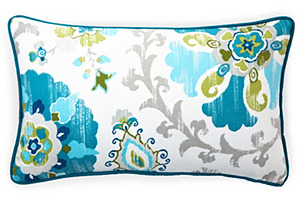 Petals 12x20 Outdoor Pillow, Turquoise