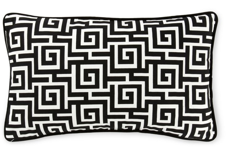 Puzzle 12x20 Outdoor Pillow, Black/White