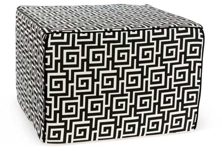 Puzzle Outdoor Pouf, Black/White